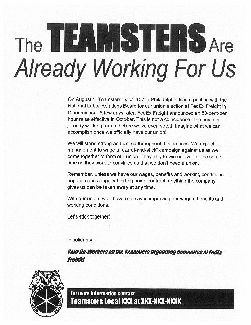 Teamsters Local 317   FedEx Freight Organizing